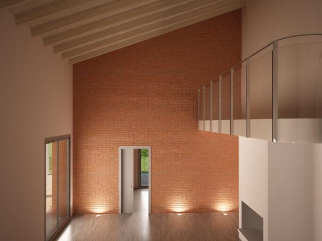 Nuova costruzione in struttura mista. Studio di interno